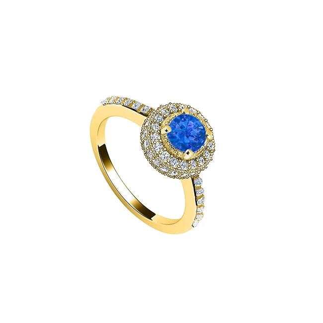 Blue Created Sapphire and Cubic Zirconia Engagement 14k Yellow Gold 1. Ring Blue Created Sapphire and Cubic Zirconia Engagement 14k Yellow Gold 1. Ring Image 1
