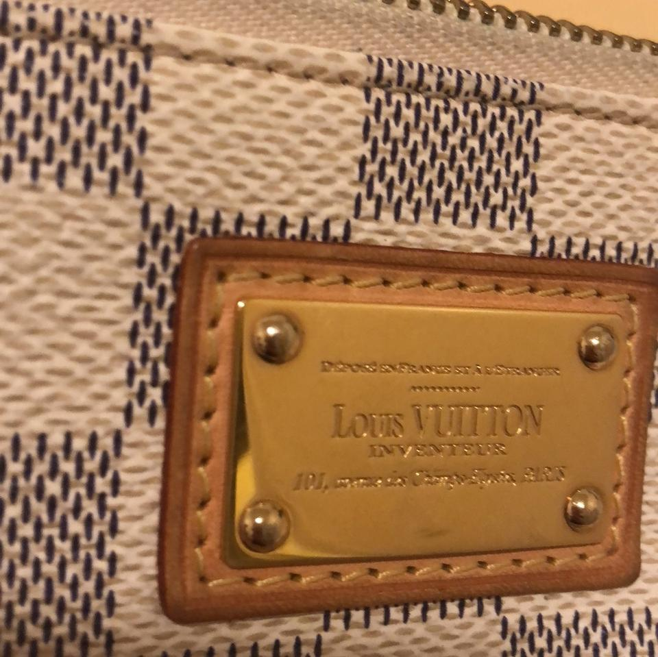 678ab0b903b1 Louis Vuitton Gold Lv Tag White and Grey-demier Canvas Clutch - Tradesy