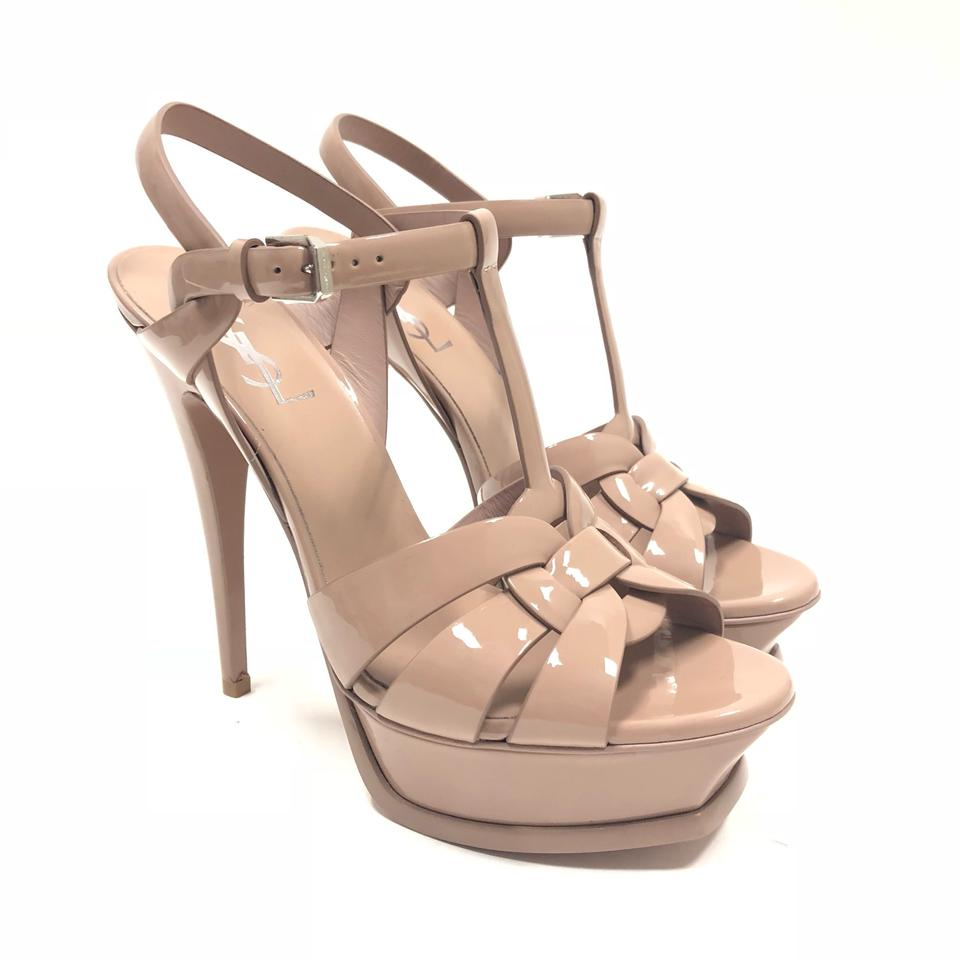 b6810ecc97cd Saint Laurent Nude Tribute Ysl Yves Classic 105 Patent Leather Platform  Sandals Pumps
