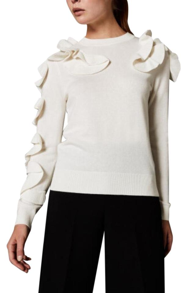 55e43f070 Ted Baker Pallege Frill Sleeve and Shoulder Jumper Ivory Sweater ...