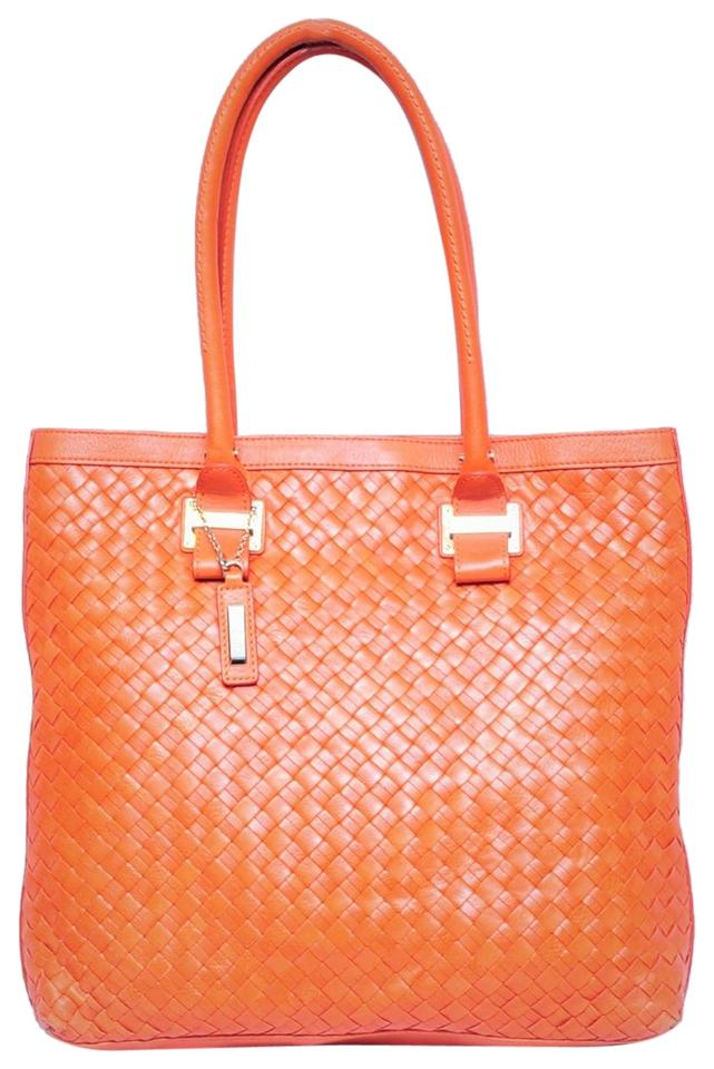 ce50f6428585 Cole Haan Genevieve Heritage Weave Vibrant Orange Leather Tote