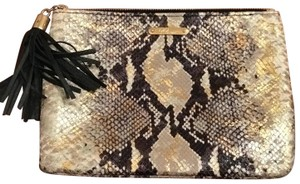GiGi New York gold, nude and brown Clutch