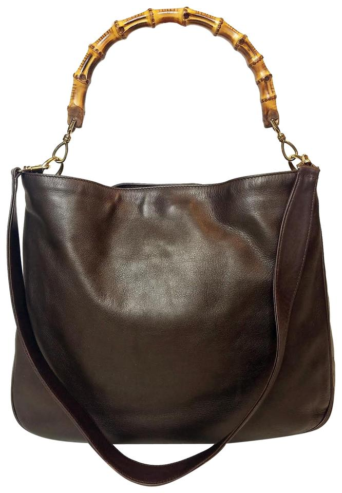 253a70ba88a Gucci Clean   Large Bamboo Satchel Tote Brown Leather Hobo Bag - Tradesy