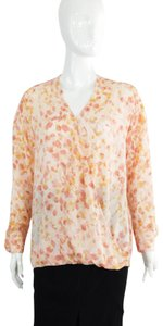 Halston Silk Floral Supplice V-neck Top pink