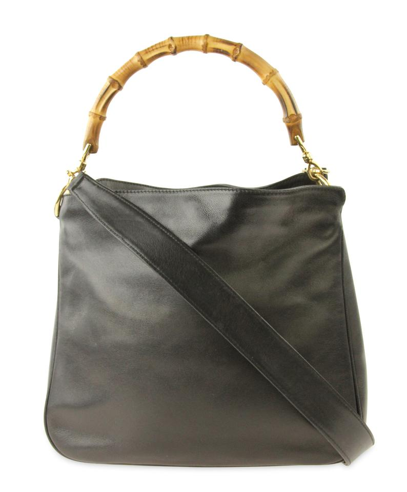 2c901566dd8ae1 Gucci Bamboo Convertible Black Leather Hobo Bag - Tradesy