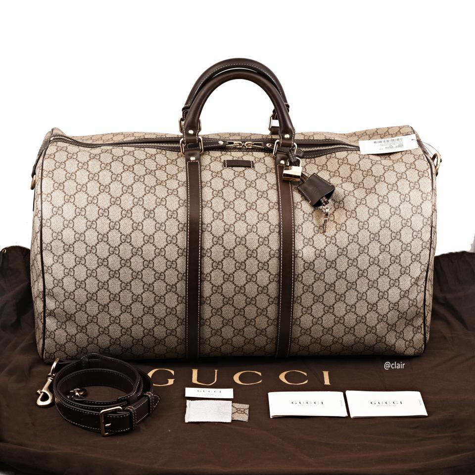 93bca0f1000368 Gucci Duffle 206500 Large Carry-on Beige/Cocoa Supreme Canvas  Weekend/Travel Bag - Tradesy