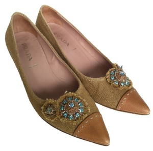 Prada Linen Fabric Work Beaded Linen/Tan Pumps