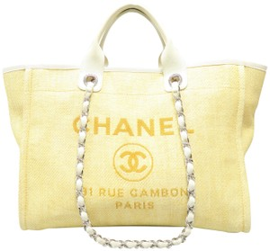 Chanel Deauville Large Gold Canvas Tote in yellow