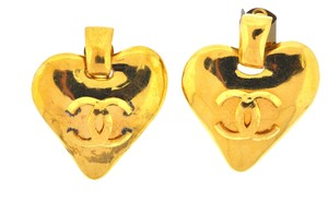 Chanel Chanel Gold Tone CC Heart Earrings
