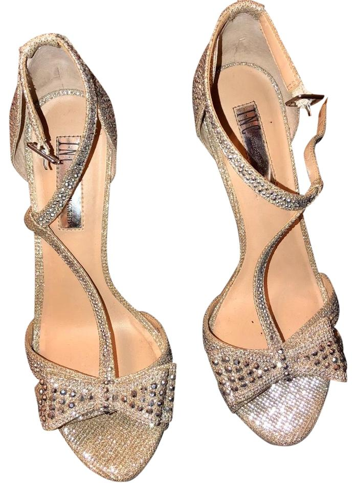 9a4a59e25f1 INC International Concepts Gold and Silver Heels Formal Shoes Size ...