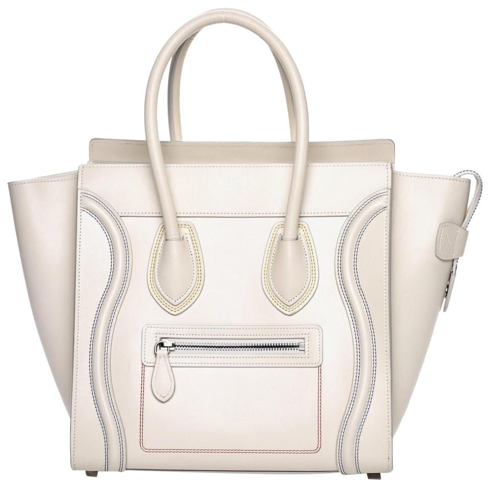 88d26e6193d7 Céline Luggage Micro White Double Stitching Smooth Calfskin Leather Tote