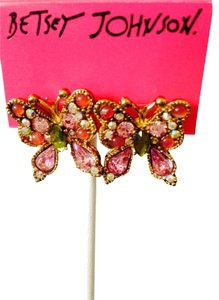 Betsey Johnson Pink Cubic Zirconia Butterflies Earrings