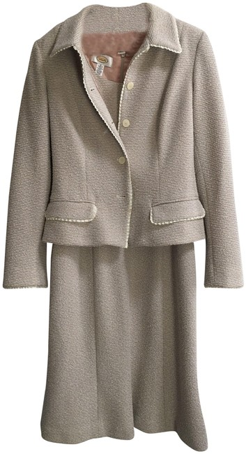 Item - Light Blue Cream and Light Taupe Work Skirt Suit Size 4 (S)