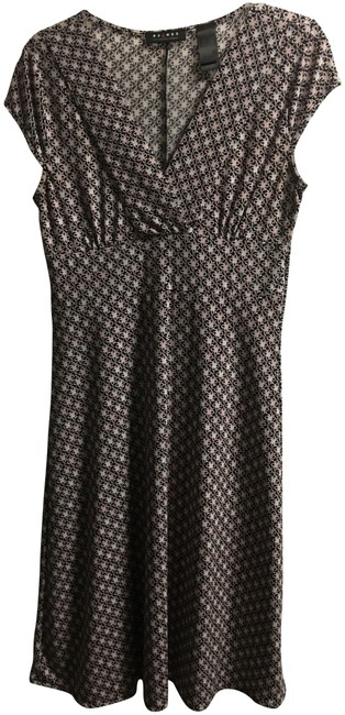 Item - Black Light Pink and Cream Symmetrical Pattern Mid-length Short Casual Dress Size 6 (S)