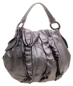 Prada Metallic Leather Hobo Bag