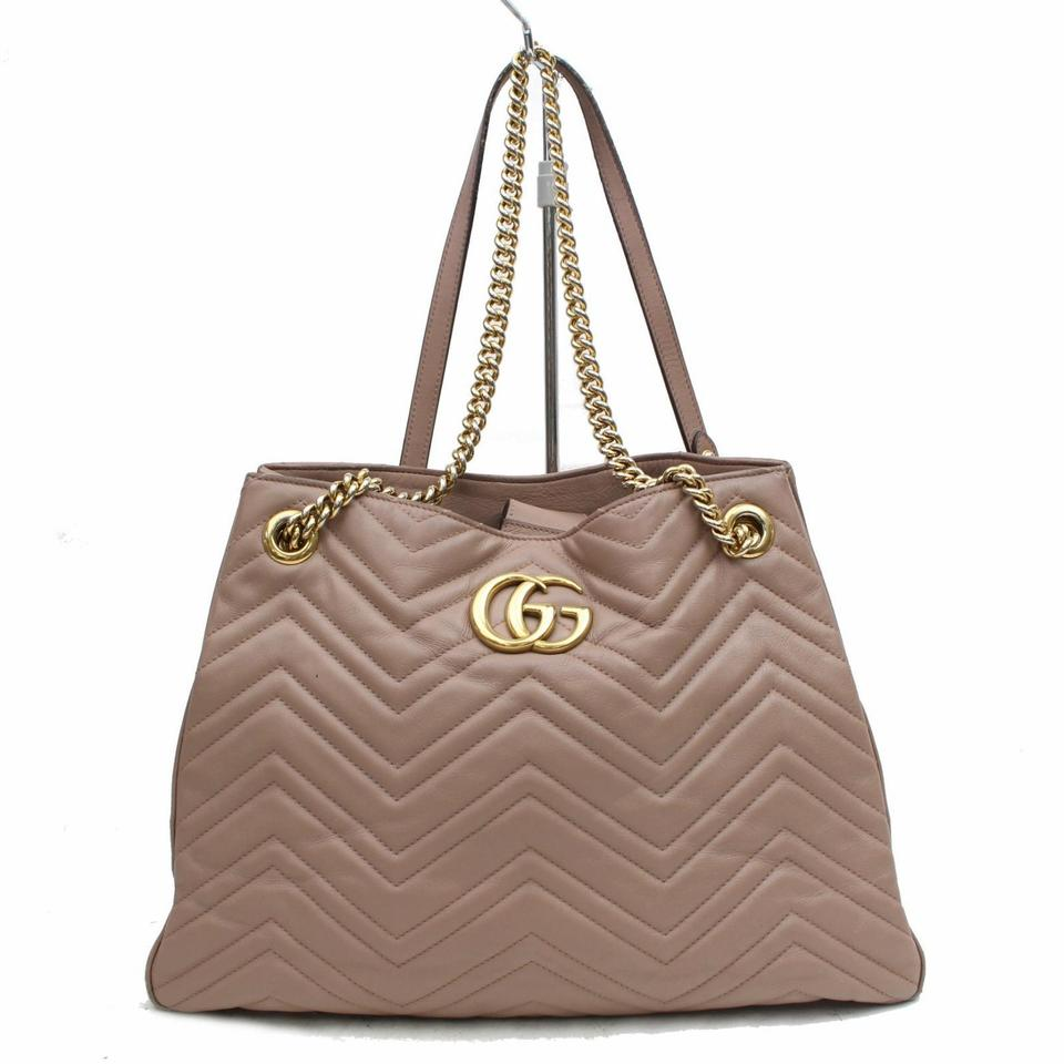 c6d2d773efa5 Gucci Marmont Rose Quilted Medium Matelasse Chain Tote 868708 Taupe Leather Shoulder  Bag - Tradesy