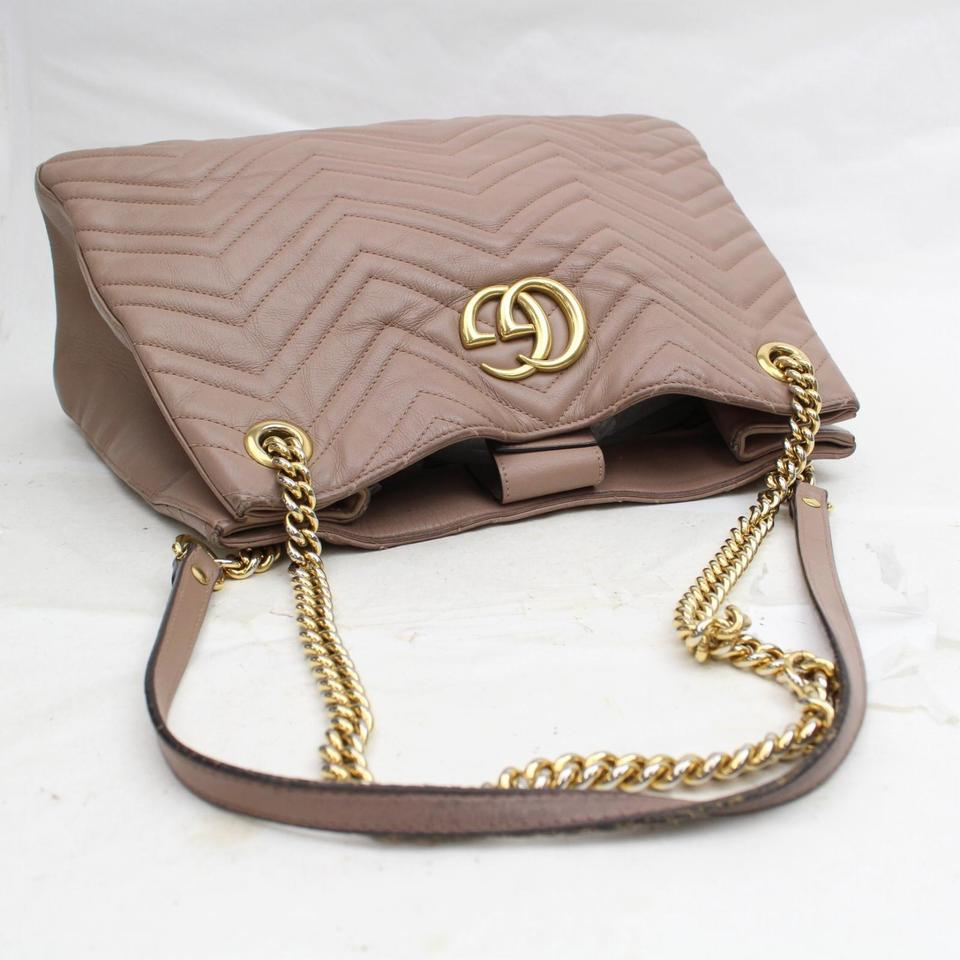 e42a99da7d71 Gucci Marmont Rose Quilted Medium Matelasse Chain Tote 868708 Taupe Leather Shoulder  Bag - Tradesy