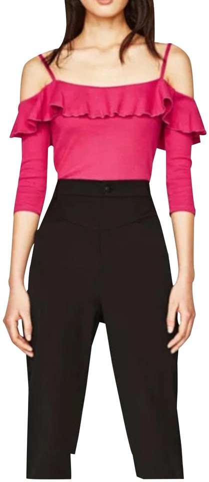 16537cfcf5de4 Zara Pink Cold Shoulder Crop Medium Bloggers Fav Blouse Size 8 (M ...