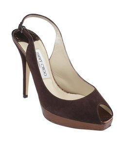 Jimmy Choo Suede Slingback Brown Platforms