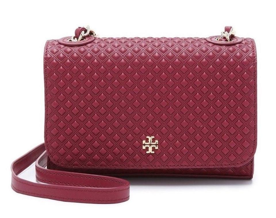 5bcd978ef8b Tory Burch Marion Diamond Quilted Mini Purse Red Leather Cross Body ...