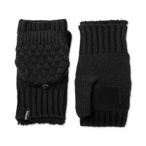 Isotoner Palm Patch Flip Top Convertible Plush Lined Knit Mittens One Size