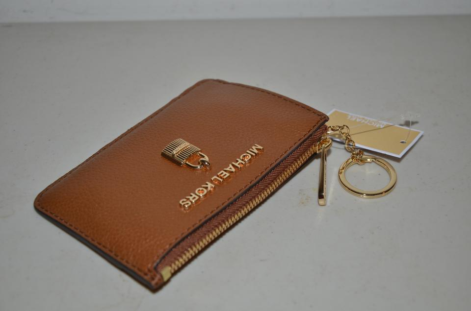 5c7b47e132a8 Michael Kors Luggage Brown Gold Adele Small Tz Coin Pouch Id Key Fob Ring Bag  Wallet - Tradesy