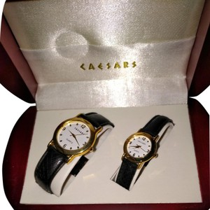 Celine Dion Caesars watches matching black leather