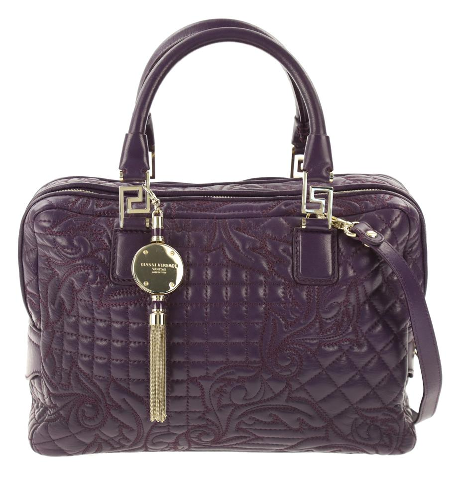 33d9de02cb94 Versace Demetra Vanitas Top Handle Purple Leather Shoulder Bag - Tradesy
