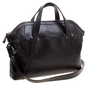 BVLGARI Leather Fabric Strap Satchel in Brown