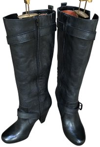 Arturo Chiang Leather Tall Buckles Black Boots