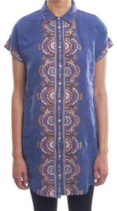 Johnny Was Breathable Linen Embroidered Short Sleeves Buttdown Front Spread Collar Tunic
