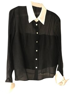 Gianfranco Ferre Top Black with white collar and cuffs