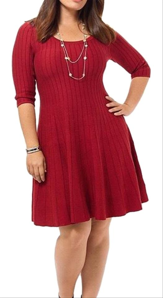 0eecb107902 NIC+ZOE Red Fit & Flare Woven Knit Striped Stretch A-line Midi Circle Flowy Long  Sleeve Sweater Cocktail Dress