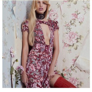 Berry Floral Maxi Dress by For Love & Lemons Maxi Holiday Corset One Slit Silk