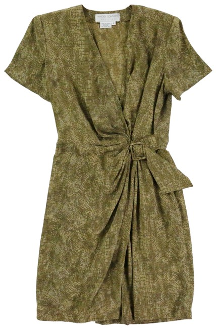 Preload https://img-static.tradesy.com/item/24347327/maggy-london-green-mossbrown-sexy-wrap-elastic-and-belted-at-waist-short-night-out-dress-size-petite-0-2-650-650.jpg