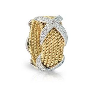Tiffany & Co. Tiffany Schlumberger X Six Row 6 Rope Ring 18K Yellow Gold Platinum