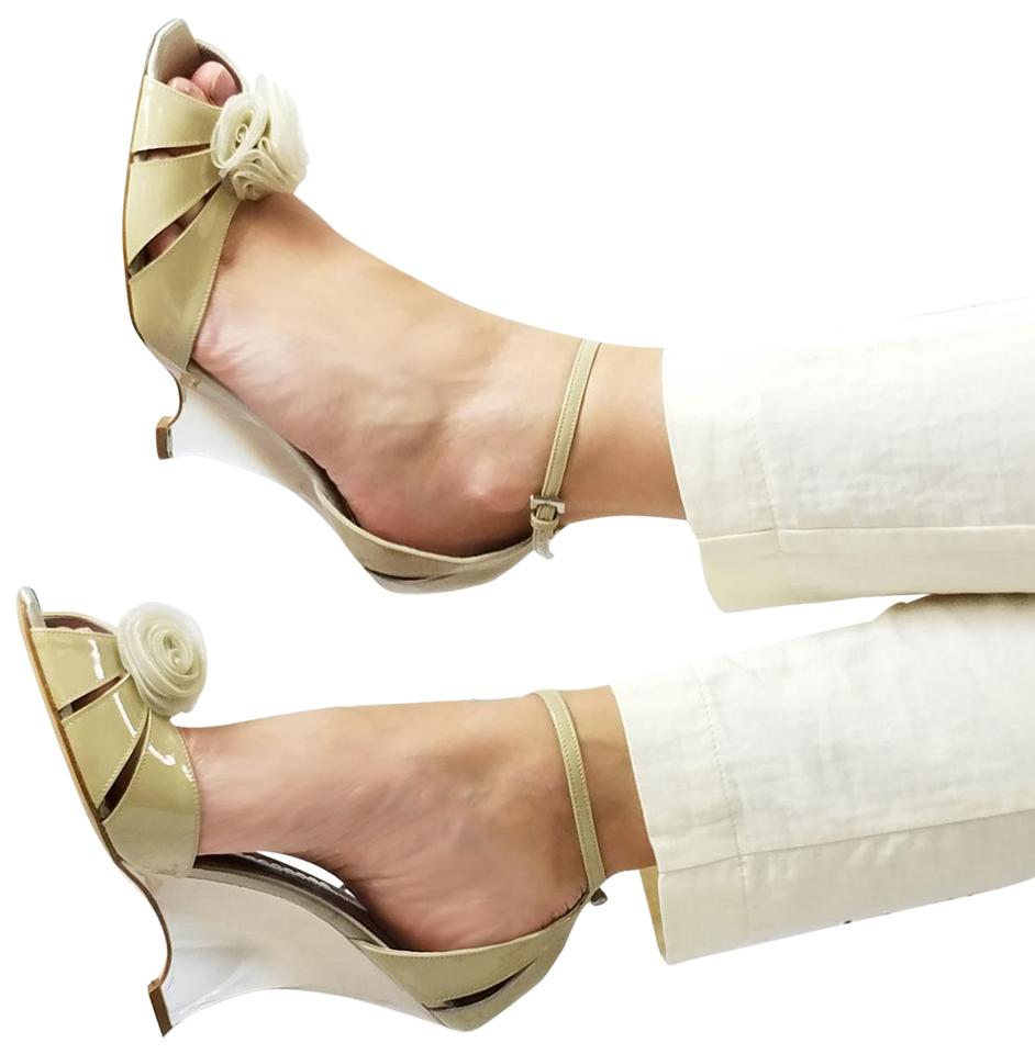 f64a56a98f59 Giorgio Armani Nude New Women Patent Leather Slim Wedge Heel Peep Toe Pumps  Sandals