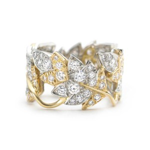 Tiffany & Co. Tiffany Schlumberger Floral Motif Two Tone Diamond Ring 1.60cts