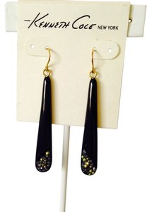 Kenneth Cole Black Paddle & Crystal Dangle Earrings