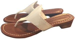 Bernardo Leather Thong Slip On Low white Sandals