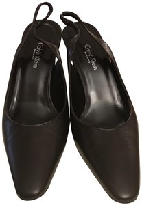 Calvin Klein Collection Distressed Vintage Slingback Dark Brown Pumps