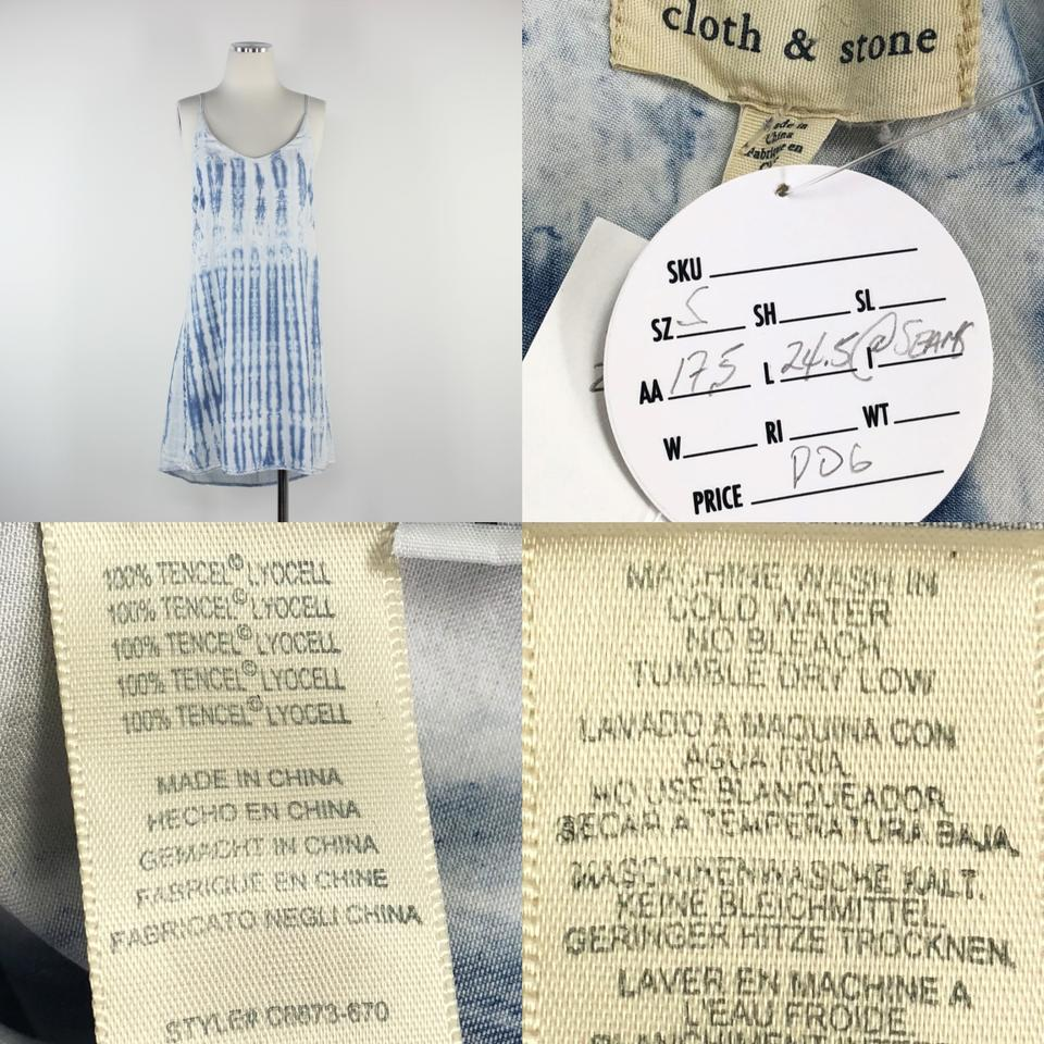 Cloth & Stone Blue Spaghetti Strap Racerback Tie Dye Soft Tencel A Line  Boho Hi Lo Short Casual Dress Size 6 (S) 41% off retail