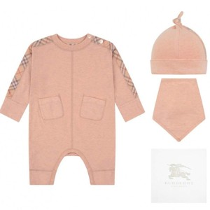 Burberry GIRLS PINK COLBY BABYGROW GIFT SET (3 PIECE) 18M