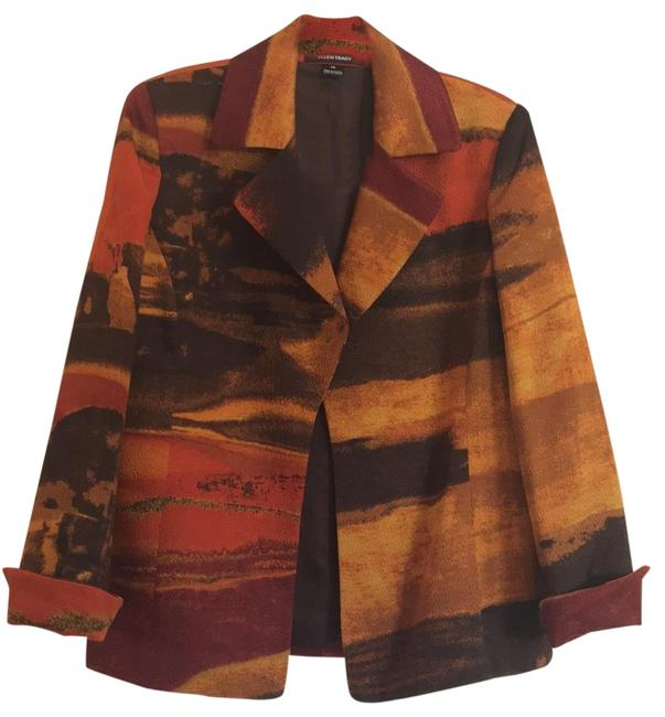 Item - Multi Color Earth Tones - Orange Gold Brown and Reds Vintage Blazer Size 10 (M)