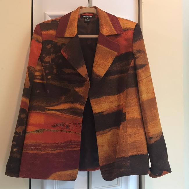 Ellen Tracy multi color earth tones - orange, gold, brown and reds Blazer Image 5
