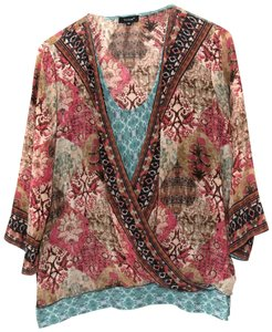 Tolani Silk Draped 3/4 Sleeves Top Multi Color