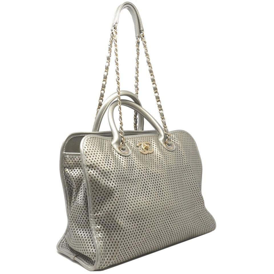 14c8f571535a Chanel Metallic Ghw Perforated Leather Handbag Tote in Gray. 1234567891011