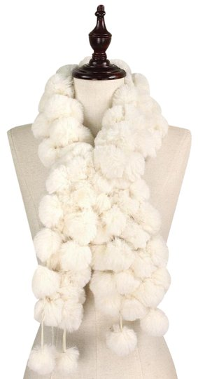 Other New Faux Fur Pom Pom Detail Crossover Scarf Image 0