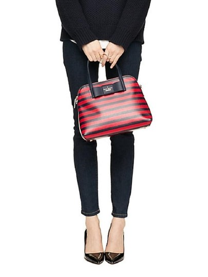 Kate Spade Julia Street Maise Leather Satchel in NAVY/CHERRY Image 10