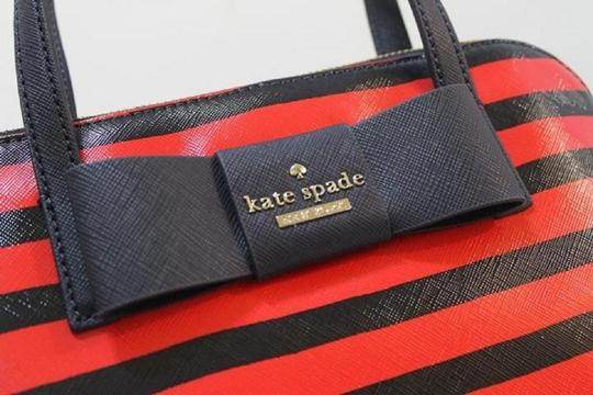 Kate Spade Julia Street Maise Leather Satchel in NAVY/CHERRY Image 6